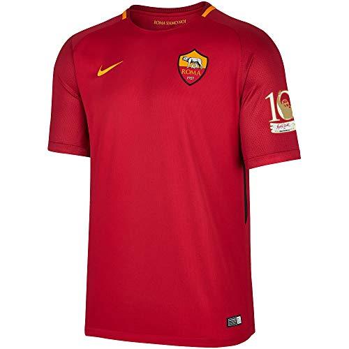 Nike AS Roma Home Trikot 2017/2018 + Offizieller Totti 10 Tribute Patch - XL