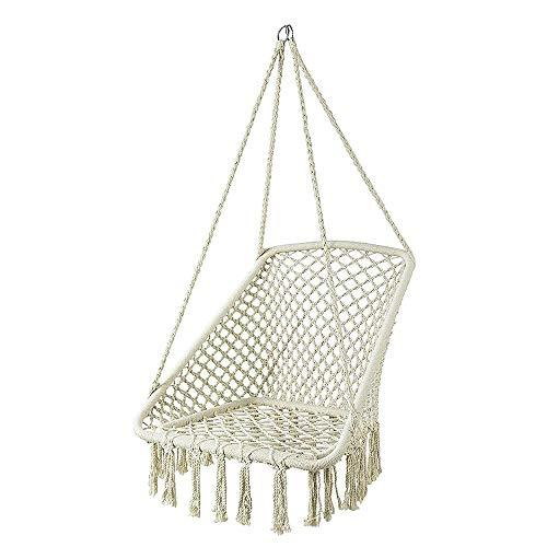KLFD - Silla colgante de jardín, hamaca suspendida de algodón y poliéster, robusta y resistente, sillón suspendido para interiores o exteriores, capacidad 120 kg