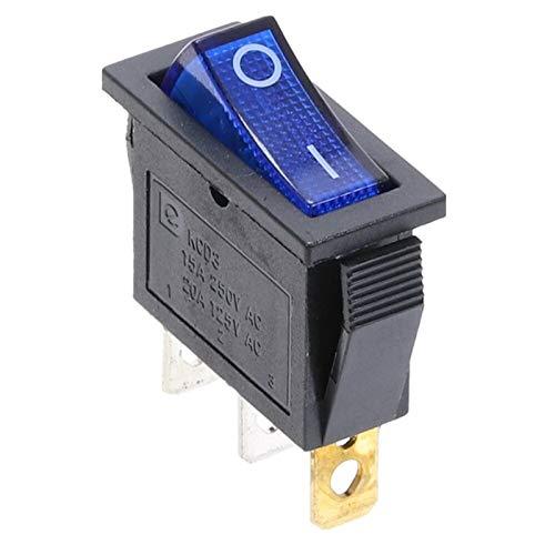 HGLNBN Interruptor basculante 10 PCS 220V ON/Off SPST Rocker Interruptor de un Solo Polo Solo Tiro 2 Posición 20A 125VAC con luz LED (Color : Blue)