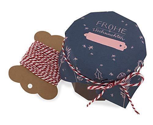 25 Marmeladendeckchen - Frohe Weihnachten - Gläserdeckchen blau rosa für Marmelade, Marmeladengläser & Einmachgläser, Recyclingpapier Abreißblock + 10 m Garn + Justiergummi
