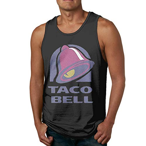Rewinriver Casual Style Men's Tank Top Shirt Print Majestic Bell with Taco Personalized L Black