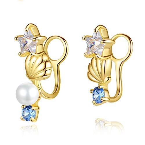 VIKI LYNN 18K Gold Plated CZ Star and Shell Clip-ON Earrings Not Pierced Ear Cuff Jewelry for Women Girls