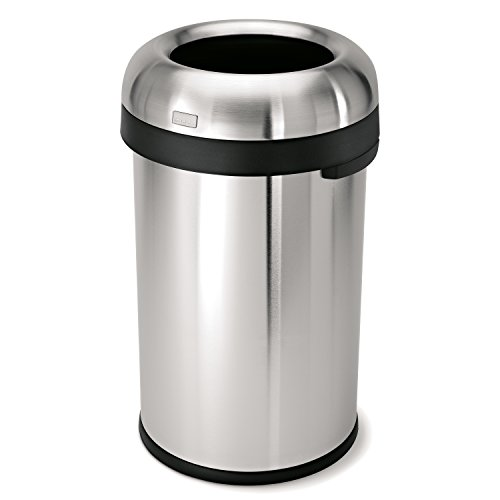 simplehuman 80 Liter / 21.1 Gallon Bullet Open Top Trash Can, Commercial Grade Heavy Gauge Brushed Stainless Steel