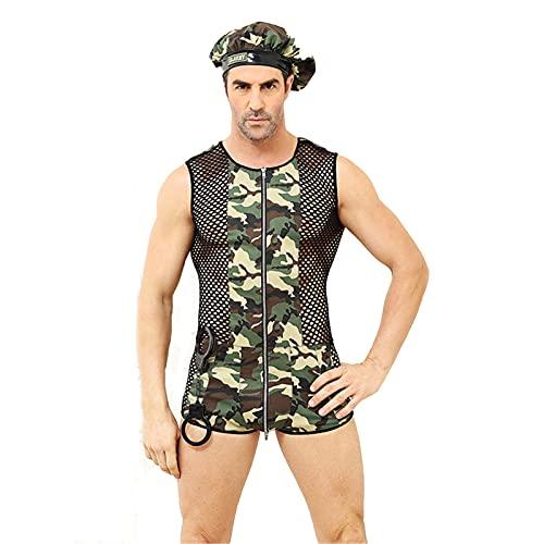 KXHWSH Conjuntos De Ropa Interior Sexy para Hombres, Traje De Chaleco para Hombres del Ejército, para La Noche De Bodas Y Cada Noche Especial, Amante.