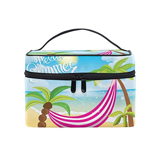 Makeup Bag, Summer Palm Tree Quote Portable Travel Case Large Print Cosmetic Bag Organizer Compartments for Girls Women Lady