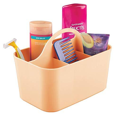 mDesign Cesta de baño con asa – Para usar como organizador de cosméticos, caja organizadora para cocina o toallero – Cesta para ducha pequeña en plástico resistente – color melocotón