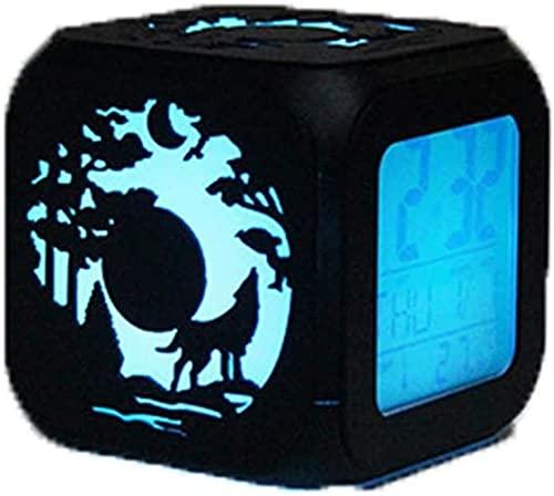 Clock Despertadors Reloj Despertador 3D Estéreo Silencio DIRIGIÓ Luz de Noche Reloj electrónico Juego Derecho Siete Colores USB Cargadura LSJZXW