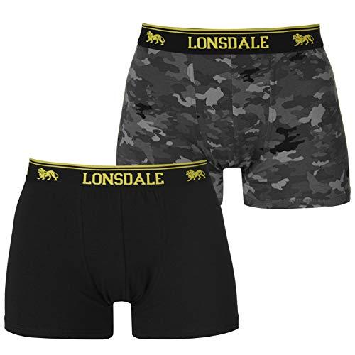 Lonsdale Herren 2er Pack Trunk Boxershorts Unterhose Schwarz/camo X Large