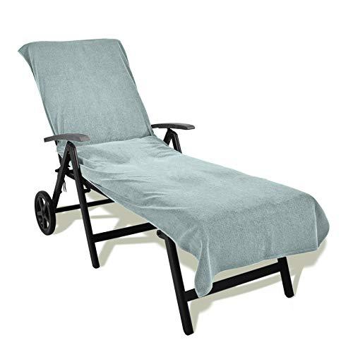 Schonbezug für Gartenliege, Strandliegenauflage, Frottier Schonbezug, 100% Baumwolle - ca.75 x 200 (+20) cm, Silber