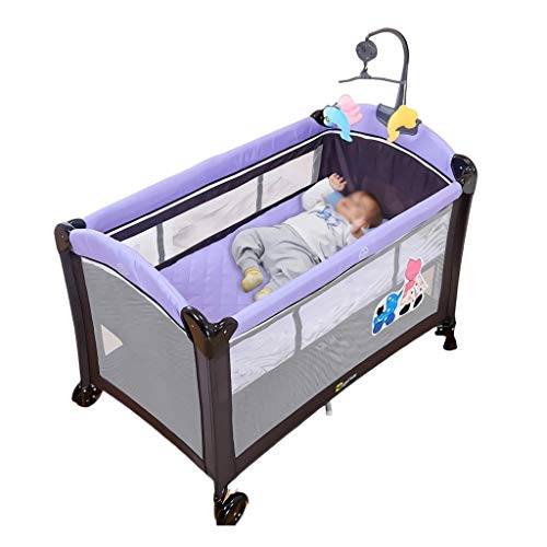 Lowest Prices! Baby Travel Bed Baby Bed with Fence Cot Crib Foldable Easy to Carry Multi Function Tr...