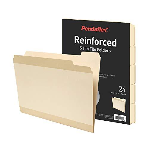 Pendaflex Reinforced File Folders, Extra Durable, Poly Reinforced Edges, Manila, Letter Size, 1/5 Cut Tabs, 24 Per Pack (86220)
