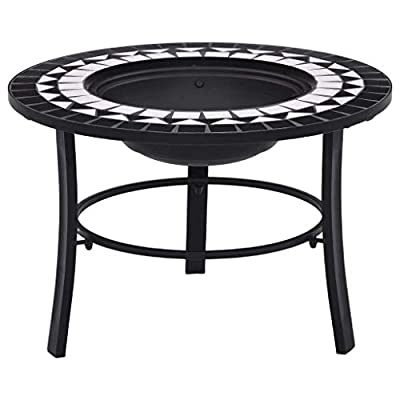 vidaXl Mosaic Fire Pit Firepit Garden Table Patio Stove Chimenea Bowl Outdoor Heater Burner BBQ Barbecue Black and White 68cm Ceramic Tile from vidaXL