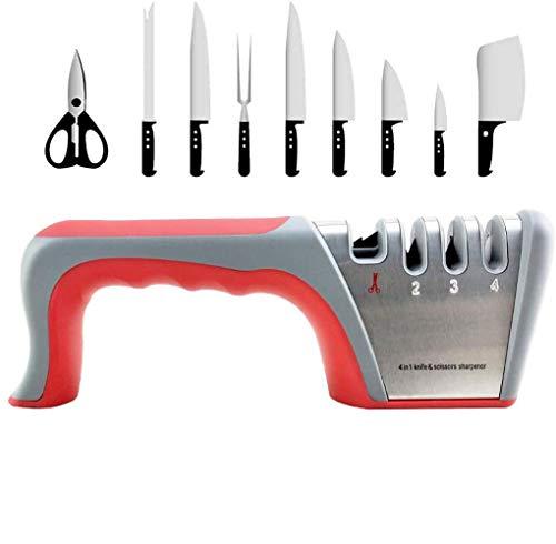 Hao-zhuokun Messerschärfer 4-in-1-Schärfstein,4-stufiger Faltbarer Messerschärfer Manueller Scherenschärfer mit Rutschfester Basis zum Schärfen von Küchenmessern,Scheren,Messerstahl (grau)