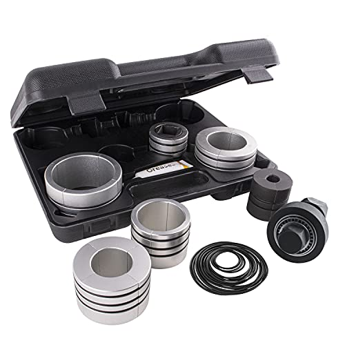 Amerbm Exhaust Pipe Expander Stretcher Tool Set 1-5/8 to 4-1/4 Inches with A Pack of Rubber Rings, 12PCS Muffler Pipe Spreader Automotive Car Tool Kit Expander Tool for Tail Pipe Tube