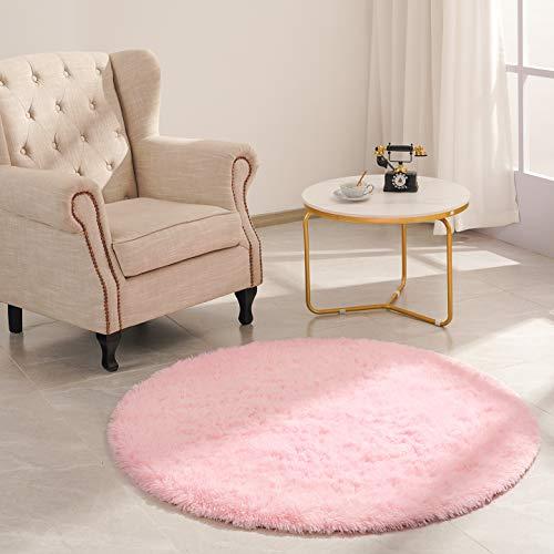 Goideal Round Fluffy Area Rug for Bedroom, Pink Soft Shaggy Rug for Boys Girls, Fuzzy Cute Princess Castle Nursery Room Rug, Circle Plush Floor Carpet for Babies Room Decor 4ft (4' Diameter)