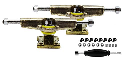 Teak Tuning Fingerboard Spacer Trucks with Standard Tuning, Gold - 32mm Width - Tuned & Assembled