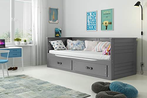 Interbeds Lit Simple 2 Places Hermes 80x200 avec Matelas sommier et tiroirs en Blanc ou Gris (Gris)