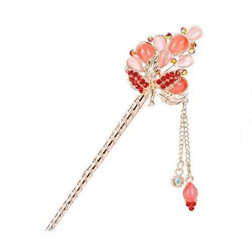 Style Classique Perle Epingle à cheveux Metal Rhinestones Décoration de cheveux, Rouge