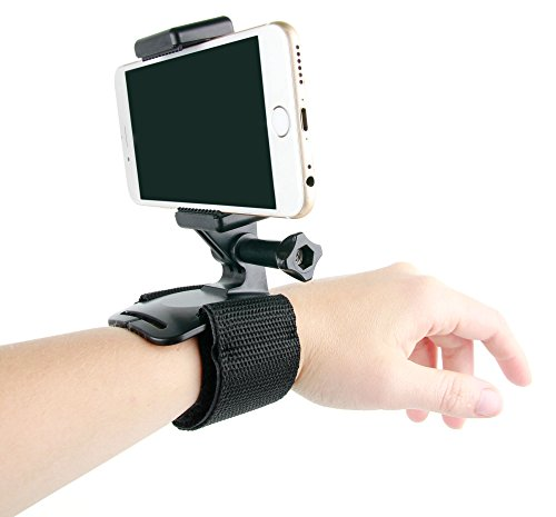 DURAGADGET Adaptador para Smartphone Huawei Mate 8 / GX8 / P9 Plus / P9 / P9 Lite/Honor V8 para Accesorios de GoPro y cámaras Deportivas + Soporte/Correa para la muñeca/muñequera