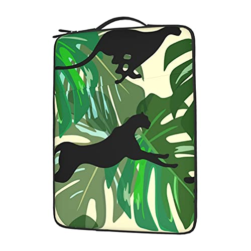 IBILIU Black Panthers Laptop Sleeve Bag 13 Inch,Palm Leaves Cheetah Tropical Laptop Carrying Case Protective Bag