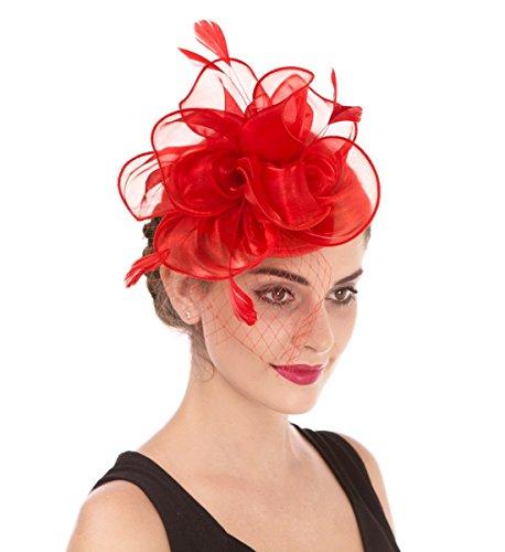 Fascinator Blume Netzmütze Feder Mesh Netz Schleier Tea Party Derby Hut mit Clip und Haarband für Frauen(A3-Rot)