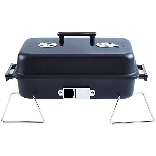 WLHER Mini Grill Holzkohlegrill Mit Deckel, Leckeres BBQ, Picknickgrill Mit Großer Grillfläche, Holzkohle, Schwarz/Rot,Schwarz