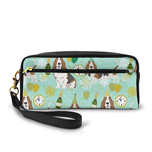 Estuche para lápices, diseño de perro basset hound de Nochevieja de tela lindo perro Nye perro pluma bolsa de maquillaje bolsa de gran capacidad impermeable para estudiantes o mujeres