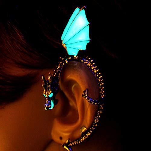 HBHBS Der Drache Ohr Manschette Manschette Glow in The Dark Alte Bronze vergoldet Drachen Ohrclip Ohrringe Ohrstecker Frauen Mädchen Jungen Geschenk