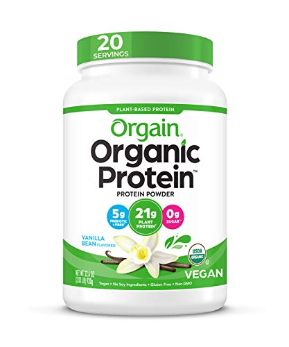 Vanilla Bean - Vegan, Low Net Carbs, Non Lairy, Free, No Sugar Added, Lactose Free, Soy Free, Kosher, Non-GGMO, Pound 2,03, Orgain Organic Protein Based Plant Powder, Orgain Organic Can Vary (Packaging May Vary)
