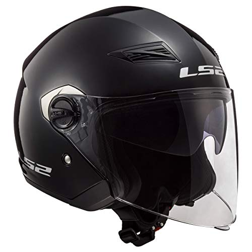 LS2 Helmets Open Face Track Helmet (Gloss Black - Medium)
