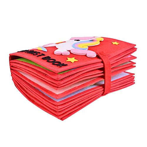 Hearthrousy Stoffbuch Baby Spielzeug DIY Selbstgenäht Frühes Lernen Entdeckungsbuch DIY Malbuch Training Feinmotorik Lernspielzeug Bunt Babybuch für kognitive Entwicklung der frühen Bildung