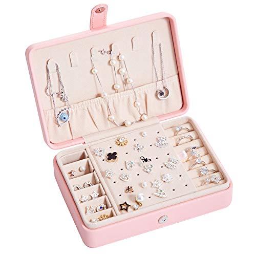 kabinga portátil Pendientes Anillo Caja de Almacenamiento de joyería multifunción PU Tabla de uñas de Oreja Fresca y Simple, con Espejo.Rosa, Women's, Rosa, M