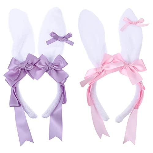 FRCOLOR Diadema de Orejas de Conejo 2 Bandas de Pelo de Orejas de Conejo con Lazos de Encaje Accesorio de Disfraz de Conejo para Niñas Y Mujeres