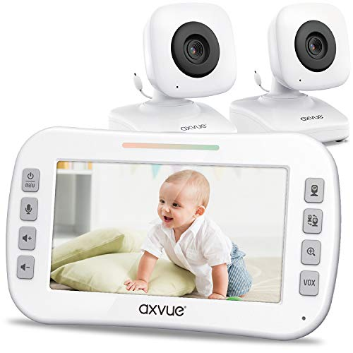 Video Baby Monitor 4.3' Screen, Two Cameras for Two Rooms, Auto Night Vision,...