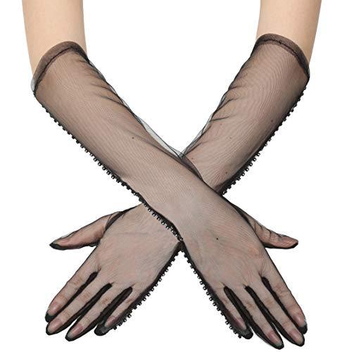 Coucoland Guantes de malla para mujer con encaje, largo/cortos, con perlas, para novia, boda, fiesta, carnaval, accesorios (negro - brillantes)