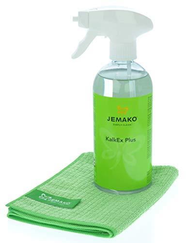 Jemako Set - KalkEx Plus (500 ml-Flasche) - Profituch klein (35 x 40 cm) - inkl. Sprühpumpe & Sinland Feinmaschiges-Wäschenetz