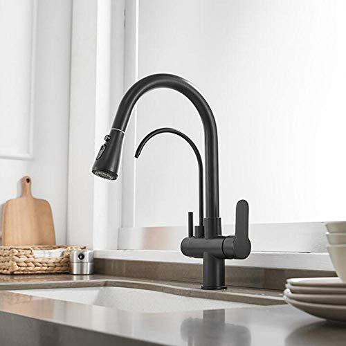 ZPSPZ Grifo de Cocina 3 Vias para Osmosis Extraible Grifo de Agua Pura Calientey Fría Grifo de Cocinay Fregadero Doméstico de 2 Modos-Negro