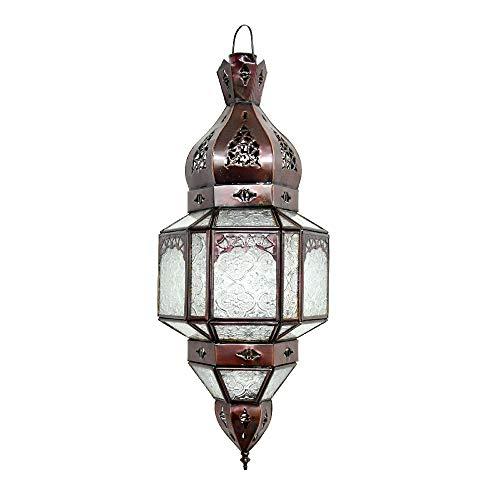 Lorient Lámpara colgante de estilo oriental Lux, color marrón oscuro, altura de 47 cm, E14, para un patrón de cuento de hadas en la pared como de 1001 noches. 100 % artesanal de Marruecos