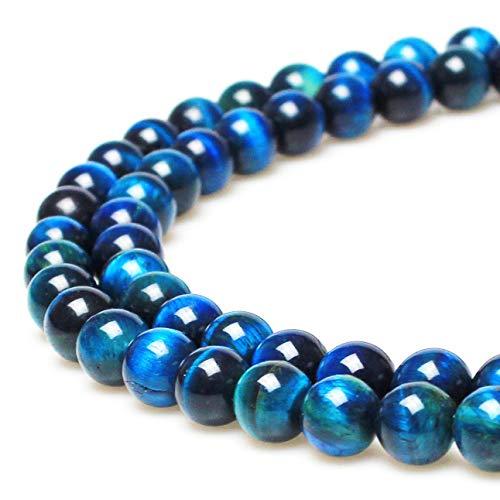 jarc Cuentas Para Pulseras Energéticas Pulsera de Yoga Pulsera DIY Cuentas de Piedra Natural Ojo de Tigre Azul Cielo 38 Piezas, 34 cm, 10 mm