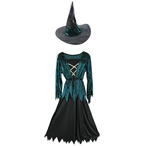 COM-FOUR® kostuum set heks meisje met heks jurk en heks hoed voor carnaval en andere themafeesten (01 stuks - heks groen 4-6 jaar)