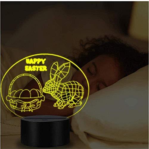 Conejo LED 3D luz de noche, regalos, con 16 cambios de color y mando a distancia, regalos para niños a partir de 3 4 5 6 años