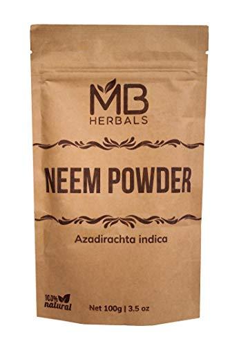 MB Herbals Pure Neem Leaf Powder 100g / 3.5 oz - 100% Pure - Organically Grown - Very Bitter Neem Supplement for Skin Hair & Detox - Azadirachta indic