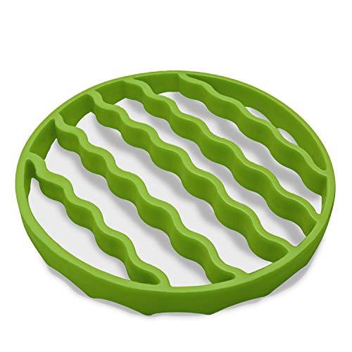 Dampfgarer-Bratrost, Silikon-Bratrost zum Backen, Einkochen, Kochen, Dämpfen, Schnellkochtopf-Zubehör, kompatibel mit 6 Quart Kochern (rund, grün)