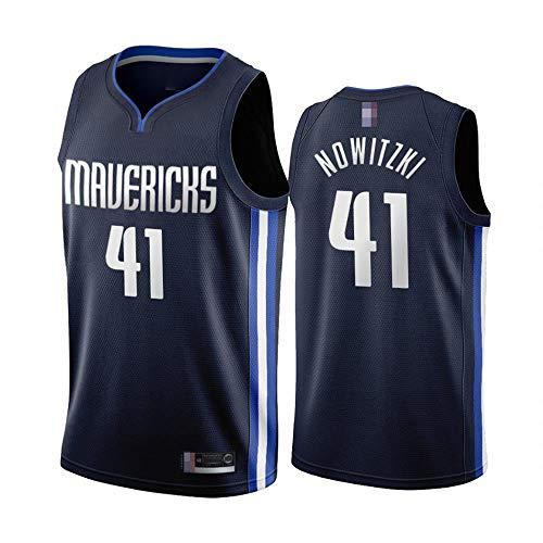 LYY Männer Basketball-Trikots, Dallas Mavericks # 41 Dirk Nowitzki - NBA Atmungsaktive Schnell Trocknende Weste Uniformen Klassische Komfort Sleeveless T-Shirt Tops,Schwarz,M(170~175CM)