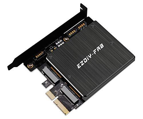 EZDIY-FAB Da PCIe a M.2 Adattatore con Dissipatore di Calore,Supporto NGFF PCIe SSD (M Key) o M2 SATA SSD (B & M Key) 2280 2260 2242 2230, da M.2 a PCI-e 3.0 x4 e SATA 3.0 Scheda di Espansione