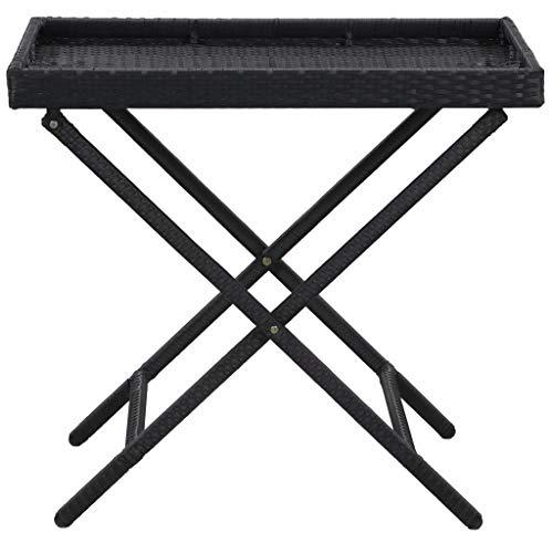 Tidyard Klapptisch Bistrotisch Beistelltisch Klapptisch Balkontisch Tisch Campingtisch Esstisch Terrassentisch Schwarz 80 x 45 x 75 cm Poly Rattan