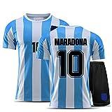 YANDDN Uniforme De Fútbol De Los Hombres, Maradonas 10 Vintage Argentina Home Soccer Jersey Camiseta Conmemorativa,1986 Maradonas Jersey - Adiós La Mano Izquierda De Dios 22