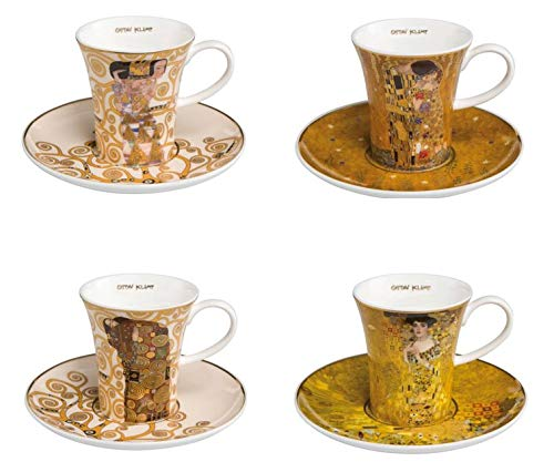 CREAFLOR HOME 4er Set Gustav Klimt Espressotassen konisch mit Goldrand H. 8cm Goebel Porzellan