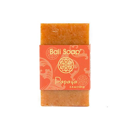 Bali Soap - Papaya Natural Soap Bar, Face or Body Soap Best for All Skin Types, For Women, Men & Teens, Pack of 3, 3.5 Oz each