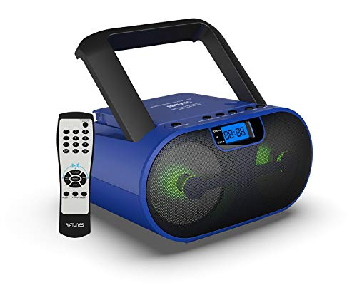 Riptunes Top Loading CD Player Boombox Portable AM/FM Radio Bluetooth Boombox MP3/CD, USB, mSD, Aux, Headphone Jack Stereo Sound System Enhanced Bass, LED Lights LCD Display with Remote, Blue